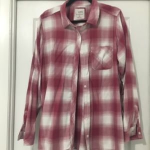 Red and white button down flannel shirt